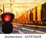 railway traffic light at sunset ... | Shutterstock . vector #427976635