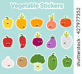 set of funny vegetable stickers ... | Shutterstock .eps vector #427977352