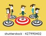 people standing on a bullseye.... | Shutterstock .eps vector #427990402