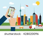 hand holding smartphone with... | Shutterstock .eps vector #428020096