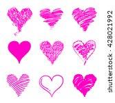 pink hand drawn heart shaped... | Shutterstock .eps vector #428021992