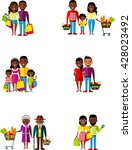 set of shopping concept african ... | Shutterstock .eps vector #428023492