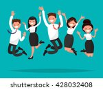 business people jumping... | Shutterstock .eps vector #428032408