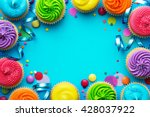 party background with cupcakes... | Shutterstock . vector #428037922