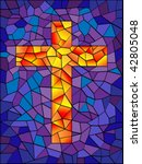 Vector Stained Glass Cross In...