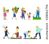 family life in garden creative... | Shutterstock .eps vector #428061796