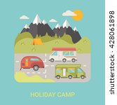 trip and journey camping bus on ... | Shutterstock .eps vector #428061898