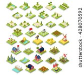 flat 3d isometric isometry set... | Shutterstock .eps vector #428070592