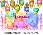 mosque at night. ramadan kareem.... | Shutterstock .eps vector #428071396