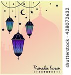 ramadan kareem greeting card or ... | Shutterstock .eps vector #428072632