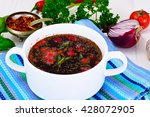 healthy food  soup with beets ... | Shutterstock . vector #428072905