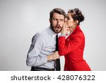 young man telling gossips to... | Shutterstock . vector #428076322