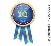 blue celebrating 10 years badge ... | Shutterstock .eps vector #428077216