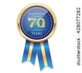 blue celebrating 70 years badge ... | Shutterstock .eps vector #428077282