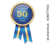 blue celebrating 50 years badge ... | Shutterstock .eps vector #428077432