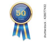 blue celebrating 50 years badge ... | Shutterstock .eps vector #428077432