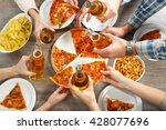friendly party with hot pizza... | Shutterstock . vector #428077696