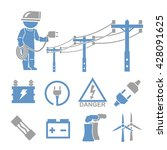 electric man icons set | Shutterstock .eps vector #428091625