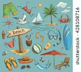 vector set of colored drawings... | Shutterstock .eps vector #428108716