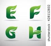 set of green eco letters logo...   Shutterstock .eps vector #428112832