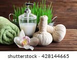 spa treatment on wooden... | Shutterstock . vector #428144665