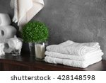 bath accessories on grey wall... | Shutterstock . vector #428148598