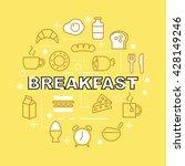 breakfast minimal outline icons ... | Shutterstock .eps vector #428149246