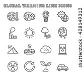 global warming line icons  mono