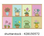 flowers in pots on the shelf.... | Shutterstock .eps vector #428150572