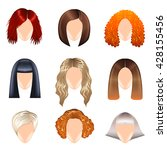 woman hairstyle icons detailed... | Shutterstock .eps vector #428155456