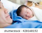 asian mother with newborn baby... | Shutterstock . vector #428168152