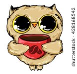 owl with a cup of coffee vector ... | Shutterstock .eps vector #428168542