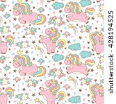seamless unicorn pattern with... | Shutterstock .eps vector #428194525