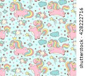 seamless unicorn pattern with... | Shutterstock .eps vector #428222716