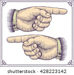 vintage hands with pointing... | Shutterstock .eps vector #428223142