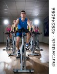 active people on cycle indoors | Shutterstock . vector #428246086