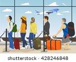 passengers in queue waiting... | Shutterstock .eps vector #428246848