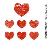Grunge Hearts. Set Of Red...