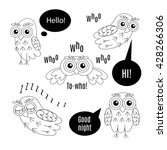 set owl bubbles vector birds... | Shutterstock .eps vector #428266306