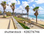 Small photo of TEL-AVIV, ISRAEL - MAY 27, 2016: View of Givat Aliyah beach and nearby area, with locals and visitors, in the southern part of Jaffa, Now part of Tel-Aviv Yafo, Israel