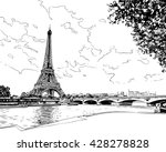 eiffel tower vector sketch.... | Shutterstock .eps vector #428278828