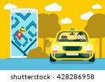 flat yellow taxi with a driver... | Shutterstock .eps vector #428286958