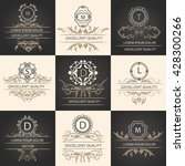 set leaflets ornamental logos   Shutterstock . vector #428300266