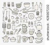 hand draw kitchen utensils... | Shutterstock .eps vector #428307232