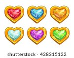 cartoon golden rare hearts with ...
