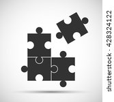 four piece flat puzzle round... | Shutterstock .eps vector #428324122