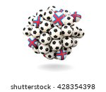 pile of footballs with flag of... | Shutterstock . vector #428354398