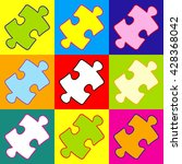 puzzle piece flat icon. pop art ...