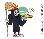 pizza delivery reaper grim... | Shutterstock .eps vector #428381536