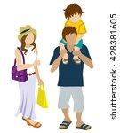 summer shopping family  ... | Shutterstock .eps vector #428381605